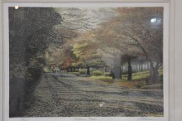 Harold Altman, Autumn Riders, limited edition coloured lithograph 190/285, signed and titled, 45cm x