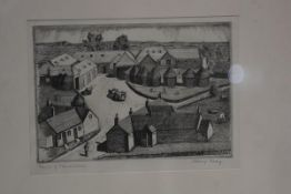 Harry Keay, Scottish (1914-1994) Barns, etching, signed and titled, 13.5cm x 19.5cm