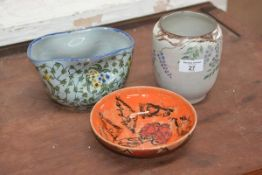 Carolina M. Valvona, a mixed lot of three decorative studio pottery bowls and vases (3)