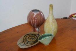 A mixed group of Carolina M. Valvona glazed stoneware studio pottery (4)
