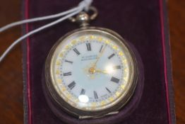 A lady's hallmarked silver fob watch in original box, H. Samuels, Manchester