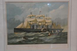 A 19thc coloured print of the Great Eastern Leviathan, November 3rd, 1857, 35.5cm x 45.5cm; together