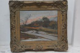 20thc School, Winter Landscape, oil on board in moulded gilt frame, 24cm x 29cm