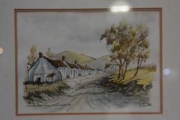 John Hall, Vineyard Workers Cottages, watercolour, signed and titled, 24cm x 33.5cm