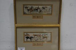 A pair of hunting Stevenographs, The Meet and The Death, framed, 15.5cm x 25cm
