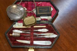 A sewing kit with mother of pearl handled tools in fitted case, a mesh coin purse and papier mache