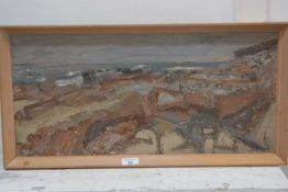 Ian Scott, Scottish 20thc, East Coast Shore Line, oil on board, signed and dated lower right '72,