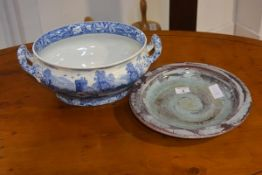 A 20thc art pottery plate, together with Spode blue and white twin handled ashet