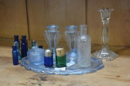 A mixed lot of glassware including a hallmarked silver topped green bottle, a pressed glass dressing