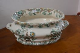 A Copeland Garrett Spode New Fayence transfer printed foot bath, chipped, crackled glaze