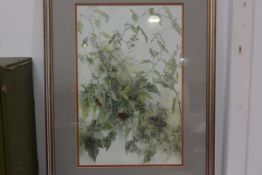 20thc School, Study of Fruit and Flowers, on vine, watercolour, initial lower right J.M., 53.5cm x