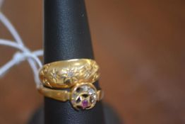 An 18ct gold gypsy ring, 3.6g; together with a yellow metal ring decorated with stone set crescent
