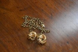A pair of 9ct gold Turks head earrings, 4g, together with a yellow metal chain, a/f, 8.2g (2)