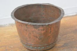 A 19thc copper washing pot/log basket with studded detail and banding (h.37cm x d.55cm), £60-80