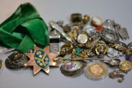 A copper enamelled medallion on green velvet ribbon, miscellaneous costume jewellery including yello