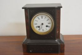A Victorian black slate and marble mantle clock, retailed by Ward & Simpson of Paris with enamel dia