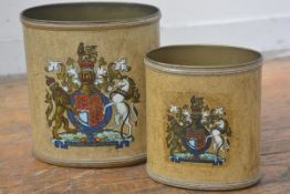 Two oval tolle waste paper bins with Royal crests (h. 28cm and 23cm) (2), £30-40