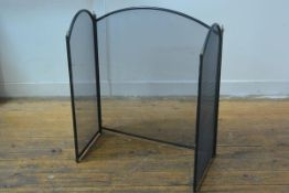 A mesh folding three part firescreen with anodised metal supports (h.72cm x180cm fully extended), £2