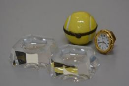A pair of 1930s crystal octagonal table salts, a Limoges tennis ball porcelain container and a minia