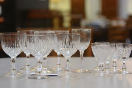 A set of six Edinburgh crystal liqueur glasses, a set of four plus three slice cut sherry and port g