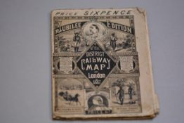 A Jubilee Edition District Railway Map of London, 1887, complete with original adverts (19cm x 14cm)
