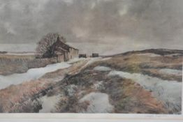 Joseph Pighills, Cumbrian Moorland Scene with Farm in Winter, print, signed in pencil (34cm x 50cm),