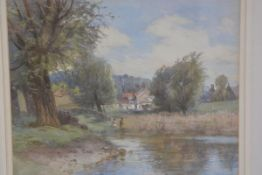 John Kinniar, Old Linlithgow by the Loch, watercolour, signed and inscribed verso (29cm x 36cm), £20