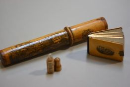 A 19thc pine mauchline ware cylinder crochet needle case with view of Edinburgh from Calton Hill, co