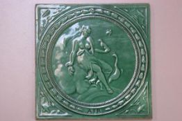 A 19thc Minton Thollins & Co. green glazed tile depicting the element, Air (20cm square), £40-60