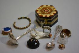A Sorrento ware style octagonal box, a copper and brass enamel top pill box, a sugar sifter, a white