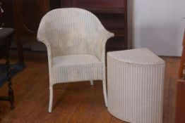 A Loyd Loom white painted 1930s basket chair with matching corner linen basket (h. 80cm x d.65cm) (2