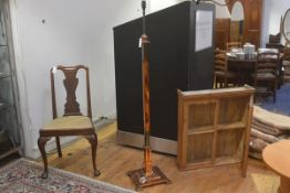 An Edwardian copper adjustable column oil floor lamp base, the square column with cast C scroll moul