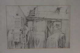 Joan Renton, Storage Yard, pencil sketch, signed in pencil (28cm x 40cm), £50-100