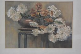 Jasgray, Chrysanthemums in Bronze Bowl on Chinese Stand, watercolour, signed (33cm x 48cm), £30-50