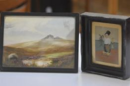 Norma Briquet, Moorland Scene, pastel, signed (13cm x 18cm) and a Dutch print, Little Boy by Canal i