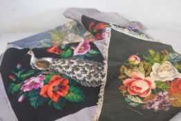A needlework and beaded tapestry pheasant cushion cover, two grospoint floral cushion covers and a p