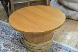 A pine tub with lift off circular top and bamboo bound base (h.47cm d.70cm), £20-40