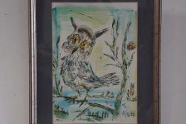 Jo Birdsey Lindberg (20thc American), Owl on Branch, watercolour, signed (52cm x 36cm), £150-200