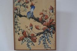 Original sketch for wallpaper/fabric print, Blue Tit on a branch, pencil sketch highlighted with wa
