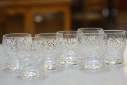 A set of seven Edinburgh Crystal miniature whisky tumblers with slice cut decoration (h.7cm), £30-40