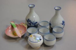 A Japanese seven piece blue and white underglaze sake set, a Grafton china 1930s mustard and a Carlt