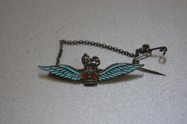 Lot 242 - A sterling silver enamelled Royal Airforce sweetheart brooch with safety chain (l.5cm), £30-50