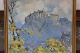 T.S.E. Tait, Edinburgh Castle from the Gardens, watercolour, signed and dated '49 (54cm x 63cm), £80
