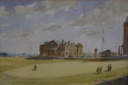 Allan Perera-Liyanage, St Andrews, the Old Course, watercolour, signed, Malcolm Innes Gallery label