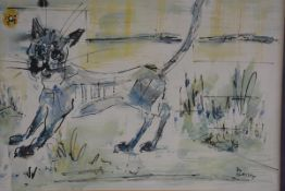 Jo Birdsey Lindberg (20thc American), Cat, mixed media, signed (37cm x 46cm)., £200-250