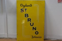 Ogden's St Bruno Tobacco, yellow and blue enamelled sign (92cm x 61cm), £50-70