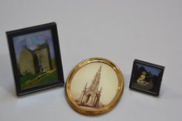 A 1920s frame with Queen Mary's house Jedburgh, with butterfly wing panel back and a 1930s miniature