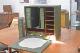 A 19thc. General Handy Box File portable fold down workstation, writing box and accounts, fitted thr