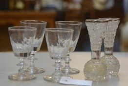 A set of four 19thc crystal thumb cut cordial glasses with knop stems (h.11cm) and a pair of crystal