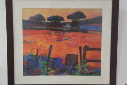 Francis Boag, Evening Cookney, print in glazed frame (68cm x 78cm)